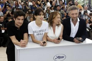 Louis Garrel, Maiwenn, Emmanuelle Bercot  Vincent Cassel,Cannes,  17 mai 2015. Photo:Lionel Cironneau)/Paris Match